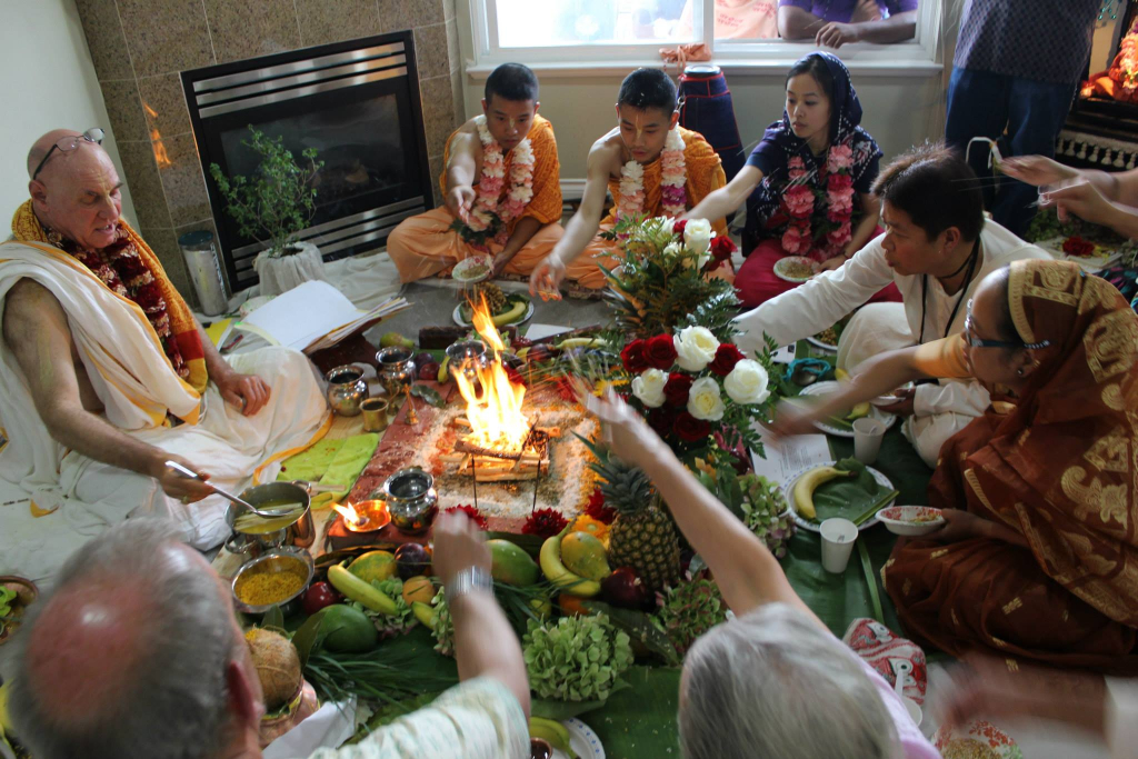 Harinama Initiation -  Fire Yajna (Sacrifice)